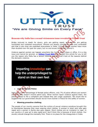 Reasons why India has a sexual viciousness issue revealed by Utthan Trust