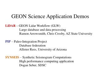 GEON Science Application Demos