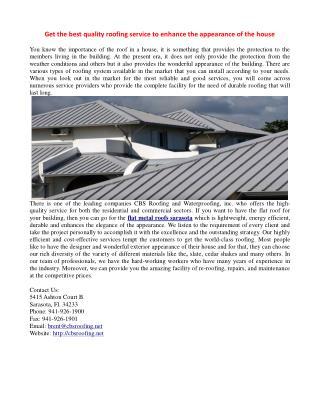 CBS Roofing- metal roofing repairs sarasota