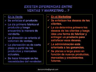 EXISTEN DIFERENCIAS ENTRE  VENTAS Y MARKETING .. ?