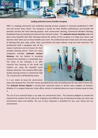 Leading Janitorial service Provider Company