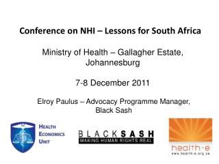 Conference on NHI   Lessons for South Africa