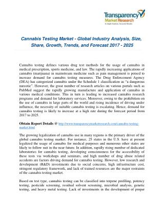 Cannabis Testing Market 2017 : Opportunities, Company Analysis And Forecast To 2025