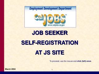 JOB SEEKER SELF-REGISTRATION AT JS SITE