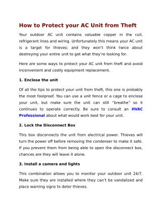 How to Protect your AC Unit from Theft