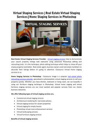 Virtual Staging Services | Real Estate Virtual Staging Services | Home Staging Services in Photoshop