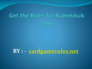 Get the Rules for Rummikub game