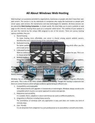 All about windows web hosting