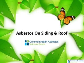 Asbestos On Siding & Roof