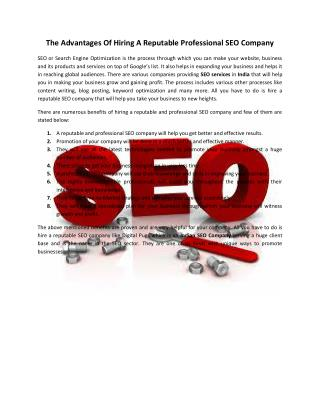 The Advantages Of Hiring A Reputable Professional SEO Company