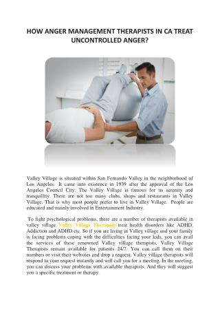 Get Treatment of Angry Management in Valley Village