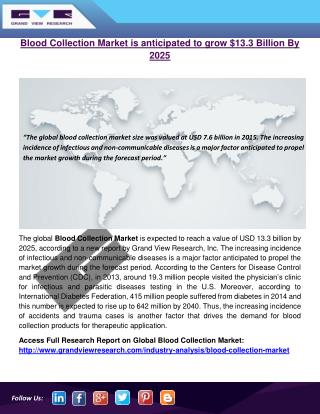Blood Collection Market is anticipated to grow $13.3 Billion By 2025