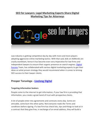 SEO for Lawyers: Legal Marketing Experts Share Digital Marketing Tips for Attorneys