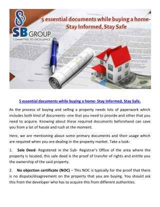 5 essential documents while buying a home- Stay Informed, Stay Safe.