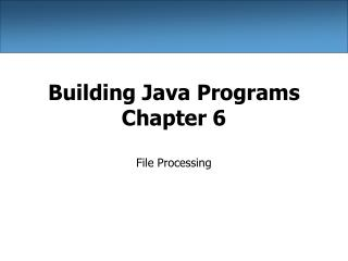 Building Java Programs Chapter 6
