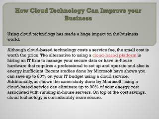 How Cloud Technology Can Improve your Business