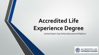 Online Life Experience Degree - Online Education
