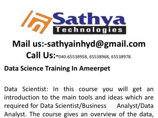 Data Science  Training Institute In Hyderabad|SathyaTechnologies
