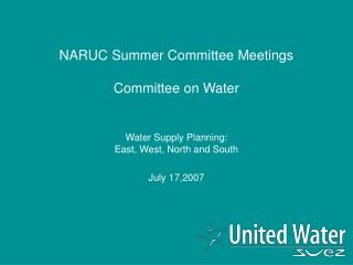NARUC Summer Committee Meetings  Committee on Water