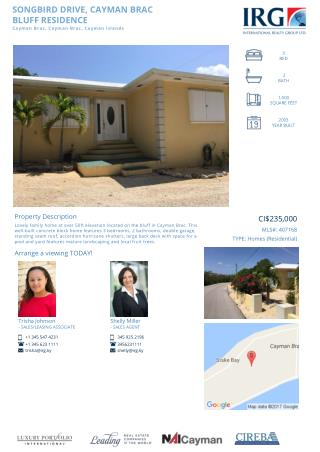 Songbird Drive Family home for Sale at Cayman Brac - IRG Cayman