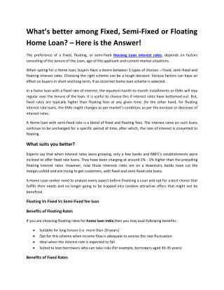 What's better among Fixed, Semi-Fixed or Floating Home Loan? – Here is the Answer!