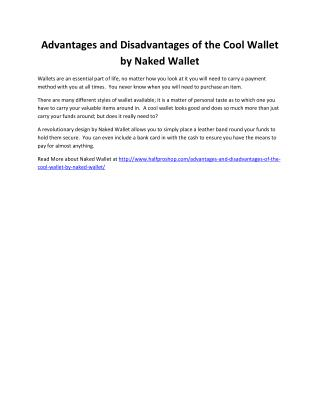 Advantages and Disadvantages of the Cool Wallet by Naked Wallet