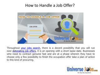 How to Handle a Job Offer?