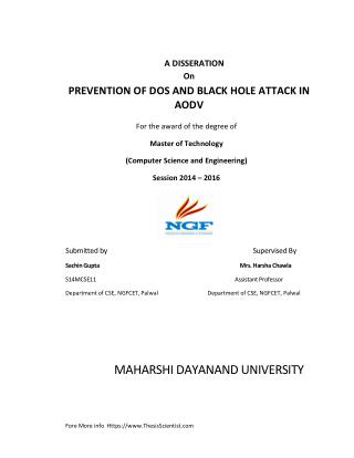 PREVENTION OF DOS AND BLACK HOLE ATTACK IN AODV