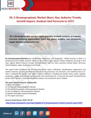 Global DL-2-Bromopropionic Market Share, Size, Industry Trends, Growth Impact, Analysis And Forecasts, 2017-2021