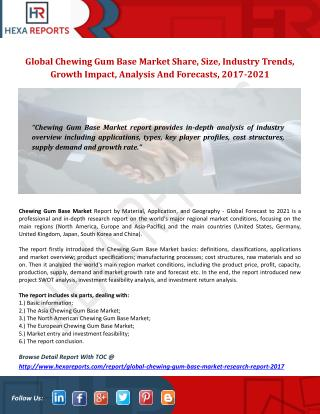 Global Chewing Gum Base Market Research Report 2017