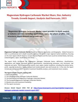 Global Magnesium Hydrogen Carbonate Market Research Report 2017