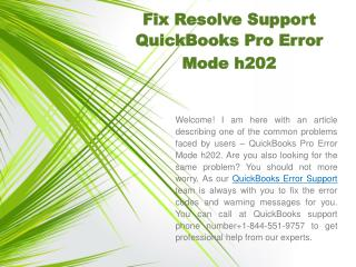Fix Resolve Support QuickBooks Pro Error Mode h202