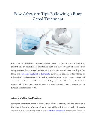 Few Aftercare Tips Following a Root Canal Treatment