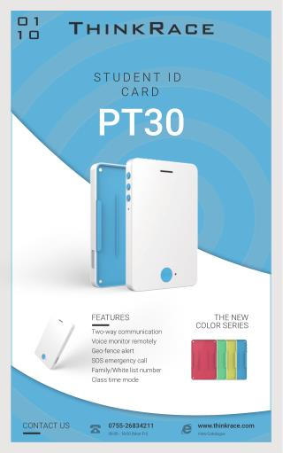 GPS Tracker For Kids PT30 - Portable GPS Card tracking device for Children/Students