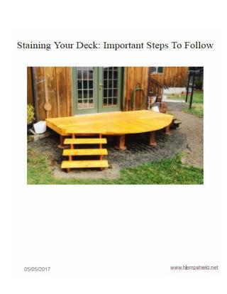 Stain Your Deck: Important Steps To Follow