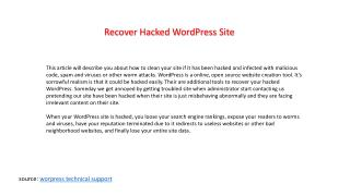 How to recover hacked wordpress site