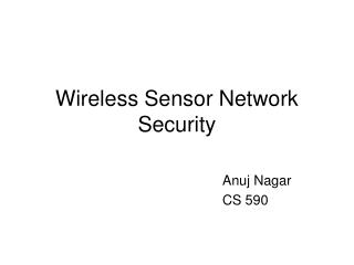 Wireless Sensor Network Security
