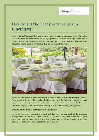 Best Services Party Rental In Cincinnati Ohio : Heritage Event