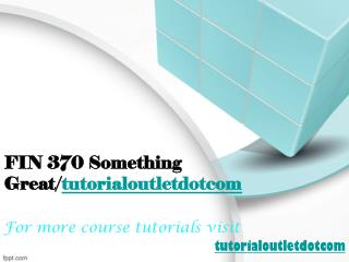 FIN 370 Something Great/tutorialoutletdotcom