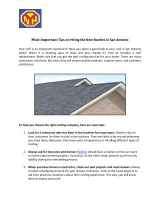 Trusted Roofing Replacement Company in San Antonio