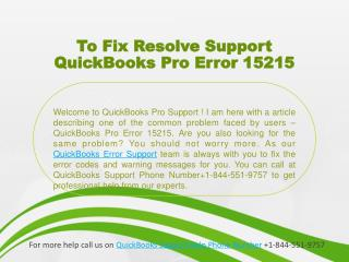 To Fix Resolve Support QuickBooks Pro Error 15215