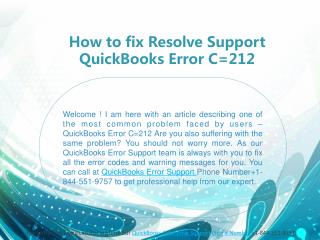 How to fix Resolve Support QuickBooks Error C=212