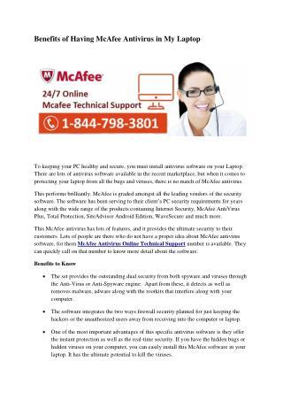 Benefits of Having McAfee Antivirus in My Laptop