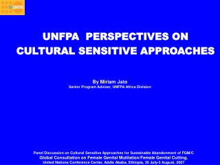 UNFPA  PERSPECTIVES ON CULTURAL SENSITIVE APPROACHES