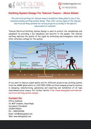 Earthing System Design For Telecom Towers – Akme Global