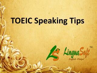 Toeic speaking Tips