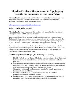 Flipside Profits REVIEW & Flipside Profits (SECRET) Bonuses