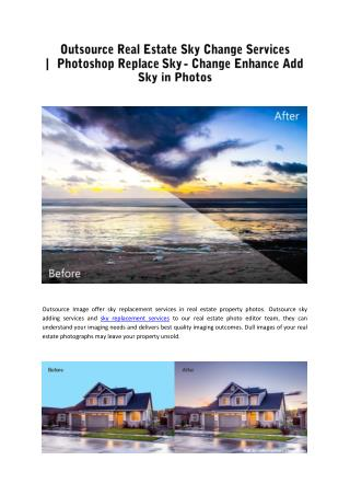 Adding Skies in Real Estate Photos | Real Estate Sky Replacement Services in Photoshop
