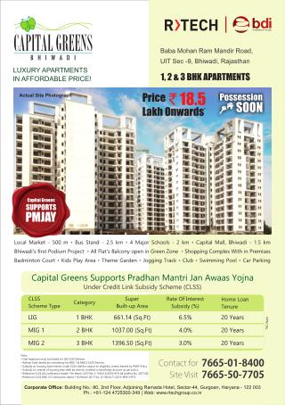 1 BHK, 2 BHK, and 3 BHK Residential Flats and Apartments in Bhiwadi
