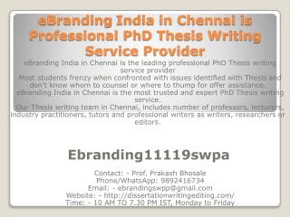 eBranding India in Chennai is Professional PhD Thesis Writing Service Provider
